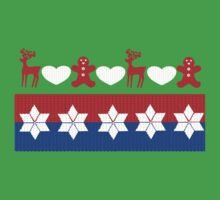 Traditional Christmas Ugly Sweater Pattern Cute Bright Colorful One Piece - Short Sleeve