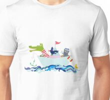 Ahoiboot mit Krokodil und Otter Unisex T-Shirt