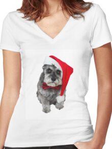 Schnauzer Santa Women's Fitted V-Neck T-Shirt
