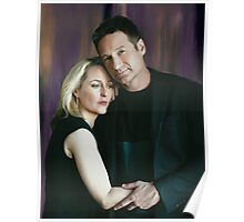 Gillian Anderson and David Duchovny oil color painting  Poster