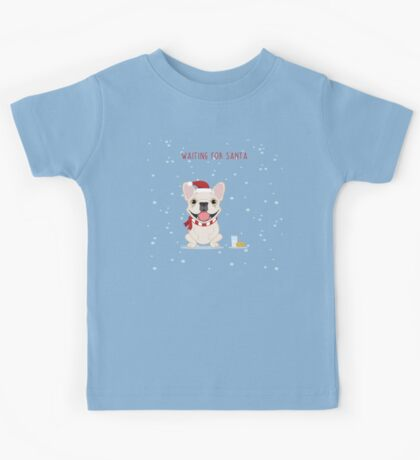 Frenchie Waiting for Santa - Cream Edition Kids Tee