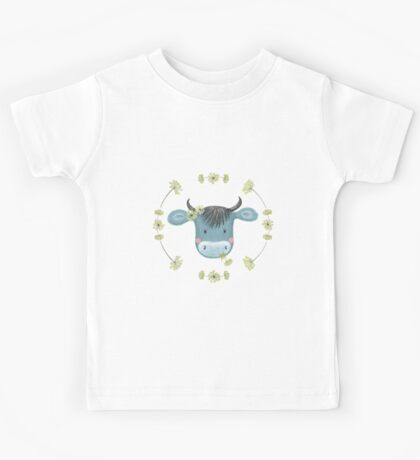 Blue Cow with Wild Flowers Kids Tee