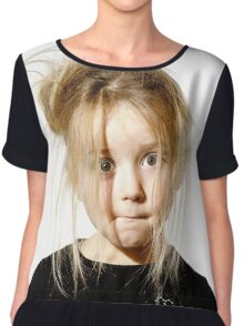 Disheveled preschooler girl with stupid face, isolated on white background Chiffon Top