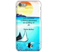 Inspirational Life Challenge Quote With Underwater Scene Painting iPhone Case/Skin