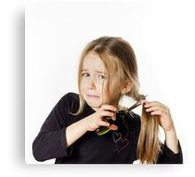 Cute little girl with scissors. Self hairdresser, isolated on white background Canvas Print