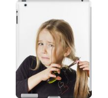 Cute little girl with scissors. Self hairdresser, isolated on white background iPad Case/Skin