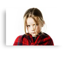 Cute little girl dressing by red comfort scarf, isolated on white background Canvas Print