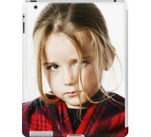 Cute little girl dressing by red comfort scarf, isolated on white background iPad Case/Skin