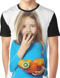 Cute little girl with plate of fruits: kiwi, date plum, mandarins, etc., isolated on white background Graphic T-Shirt