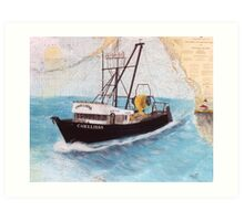 CHELLISSA Trawl Fish Boat Cathy Peek Nautical Chart Map Art Print