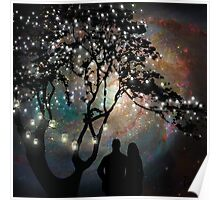 Date Night, trees, stars, string of lights, galaxy, dating couple Poster