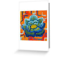 Blue and Orange - Contemporary Oil Painting - Bold Blue Flower Greeting Card