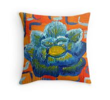 Blue and Orange - Contemporary Oil Painting - Bold Blue Flower Throw Pillow