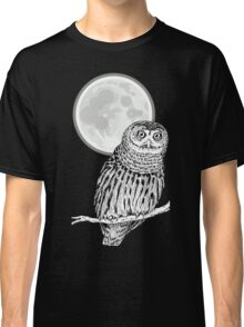 owl animal night moon dark wild illustration Classic T-Shirt