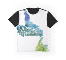 Newfoundland Watercolor Map - Welcome to Newfoundland Hand Lettering - Giclee Print of Original Art Graphic T-Shirt