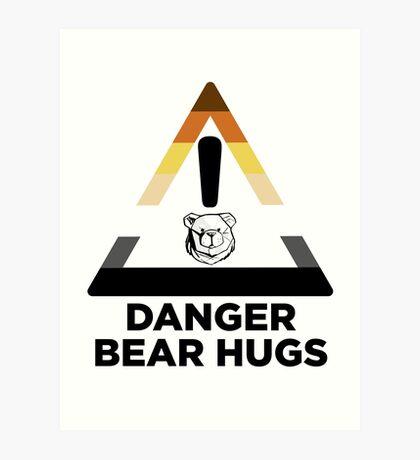 Robust Danger Bear Hugs black Art Print