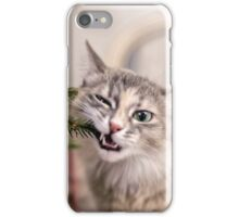 Cute grey cat chew the decorations on a Christmas tree iPhone Case/Skin