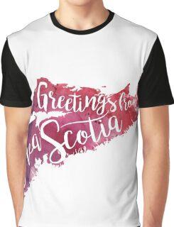 Nova Scotia Watercolor Map-Greetings from Nova Scotia Hand Lettering  Graphic T-Shirt