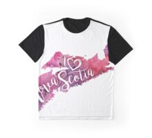 I Heart Nova Scotia Watercolor Map - With Calligraphic Hand Lettering Graphic T-Shirt
