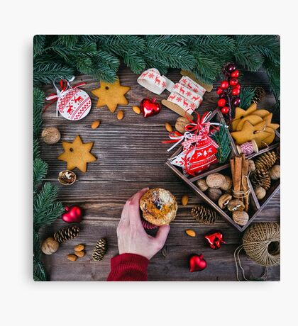 Christmas decoration cookies  Canvas Print