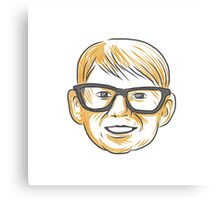 Caucasian Boy Glasses Head Smiling Drawing Canvas Print