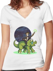 Doctor on a Dinosaur Women's Fitted V-Neck T-Shirt