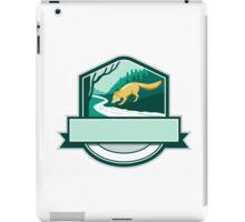 Fox Drinking River Creek Woods Crest Woodcut iPad Case/Skin