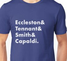 New Who - Doctor Who - 13 Doctors names - Capaldi Smith Tennant Eccleston Unisex T-Shirt