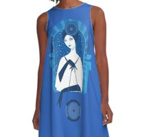 Fashion art deco elegant stylish illustration A-Line Dress
