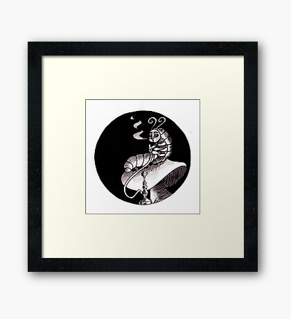 smoking Caterpillar Framed Print