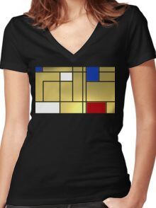 Tribute composition to Piet Mondrian Women's Fitted V-Neck T-Shirt