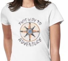 This Way To Adventure Watercolor Womens Fitted T-Shirt