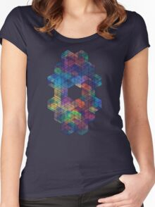 Extra Dimensional Cubes Women's Fitted Scoop T-Shirt