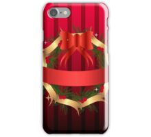 Christmas illustration with wreath and red ribbon on stripped background iPhone Case/Skin