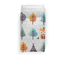 Fox in the Forest - on Gray Duvet Cover