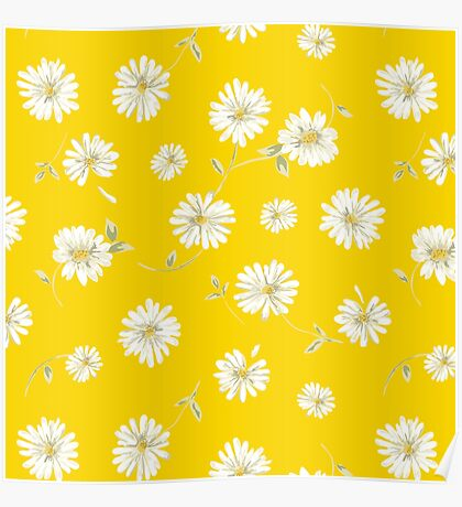 Spoon flowers,white,green,on yellow background, modern,trendy,girly Poster
