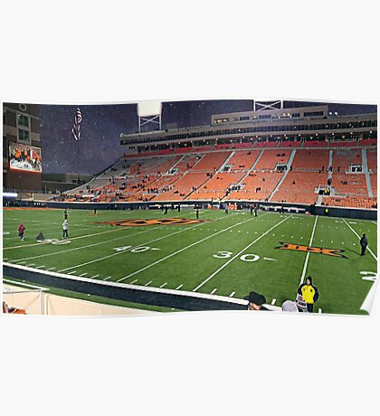 Boone Pickens Stadium at Night Poster