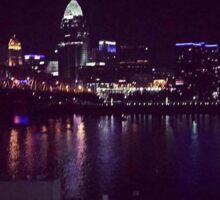 Cincinnati skyline at night Sticker