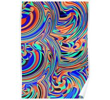 green blue orange and black curly painting Poster