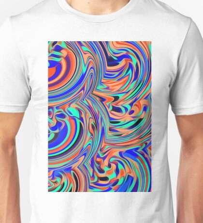 green blue orange and black curly painting Unisex T-Shirt