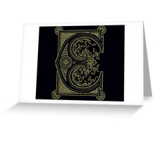 Old print ornament letter E Greeting Card