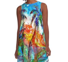 Abstract Palm Sphere A-Line Dress