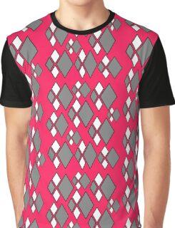 Pink, gray white argyle pattern Graphic T-Shirt