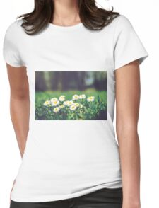 White Daisies Womens Fitted T-Shirt