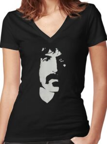 Frank Zappa Silhouette (No Text) Women's Fitted V-Neck T-Shirt