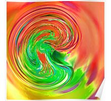 pink green purple and yellow drop of water Poster