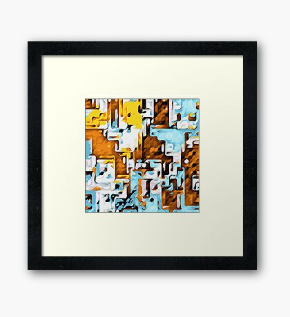 brown yellow and blue drawing abstract Framed Print
