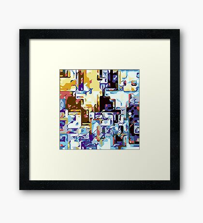 brown pink yellow blue and purple abstract Framed Print