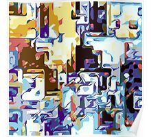 brown pink yellow blue and purple abstract Poster
