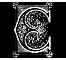 Old print ornament letter E Photographic Print